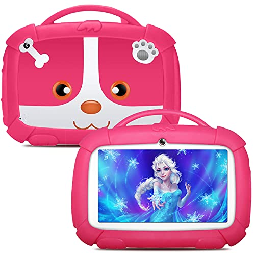 Kids Tablets, Android Tablet for Kids, 16GB ROM, IPS Eye Protection Display, Kids Tablet with WiFi Dual Camera Parental Control Kid-Proof Case and Learning Games, Best Gift for Boys Girls, Pink