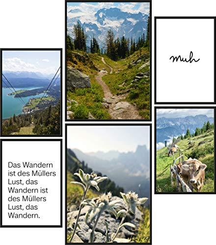 Papierschmiede® Mood-Poster Set Bergliebe | Bilder als Wanddeko | Wohnzimmer & Schlafzimmer | 2X DIN A4 und 4X DIN A5 | Täler Weide Alpen Berge - ohne Rahmen