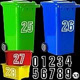 50 Pegatinas Calcomanías de Contenedores con Ruedas de Residuos Pegatina Decorativa de Cubo de Basura Pegatinas Autoadhesivas con Número de Contenedor de 0 a 9 (6,9 Pulgadas)