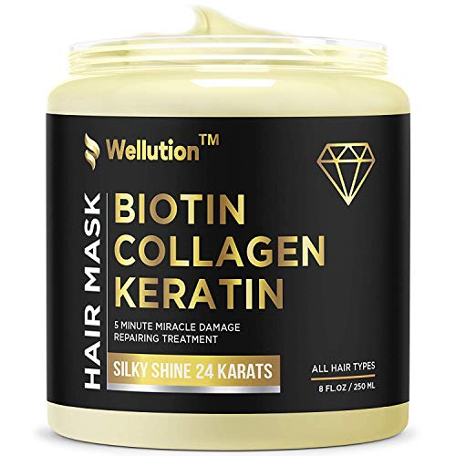 Biotin Collagen Keratin Treatment - Made in USA - Natural Keratin Treatment for Dry & Damaged Hair - Hair Mask with Collagen Hair Vitamin Complex for Best Hair Repair & Nourishment - 8 oz