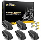 Partsam 5X Cab Marker Lights Roof Running Lamps Black Lens Covers + 5050 Amber 194 168 T10 LED Bulbs Compatible with Ford F150 F250 F350 1973-1997 F Series Super Duty Pickup Trucks