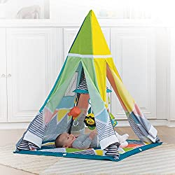 This multi-functional gym grows with your little one, transforming from an infant gym to pretend play teepee Four hanging toys and a large mirrored mobile engage newborns and infants with overhead discovery and lay n' play fun For toddlers, unfold th...