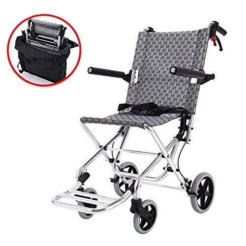 Rollstuhl Faltrollstuhl Leichter Rollstuhl mit Selbstantrieb Transport leichtes Falten des Rollstuhls, leichte Transportstuhl Rollstuhl mit Bremsen, Beinstütze, Tragetasche, Transportrollstuhl, 19in