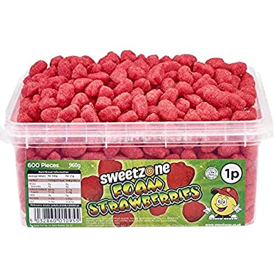sweetzone foam strawberries flavours sweets hmc approved halal sweets 960g (600 pieces) Sweetzone Foam Strawberries Flavours Sweets HMC Approved Halal Sweets 960g (600 Pieces) 51iY3cbjmRL