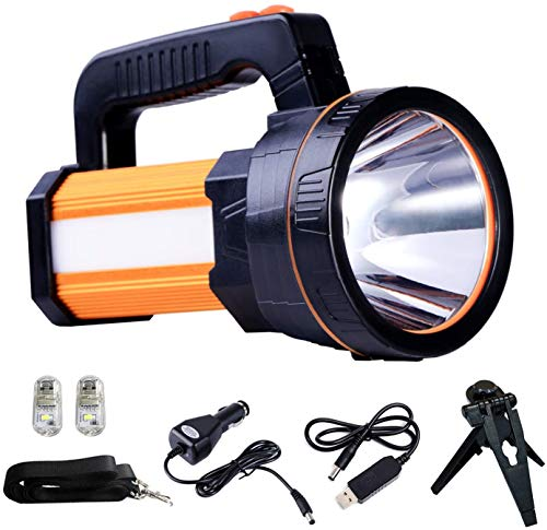ALFLASH LED Searchlight Rechargeable Handheld Flashlight 7000 Lumens 6000mAh Torch Lantern Waterproof Searchlight Torch Light with 5 Light Model (Gold)