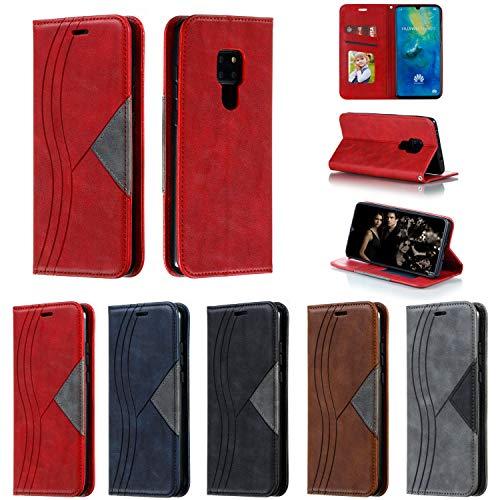 Snow Color Huawei Mate 20 Hülle, Premium Leder Tasche Flip Wallet Case [Standfunktion] [Kartenfächern] PU-Leder Schutzhülle Brieftasche Handyhülle für Huawei Mate20 - COYKB040236 Rot