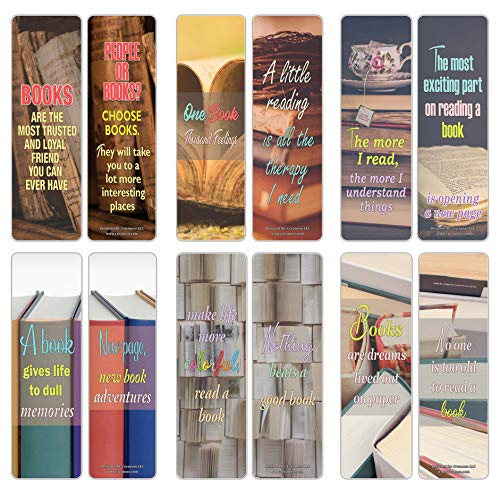 Creanoso I Love Books Bookmarks (12-Pack) – Premium Gift Set – Awesome Bookmarks for Adult Men & Women, Teens, Boys, Girls – Six Bulk Assorted Bookmarks Designs – Business Giveaways - Page Binders