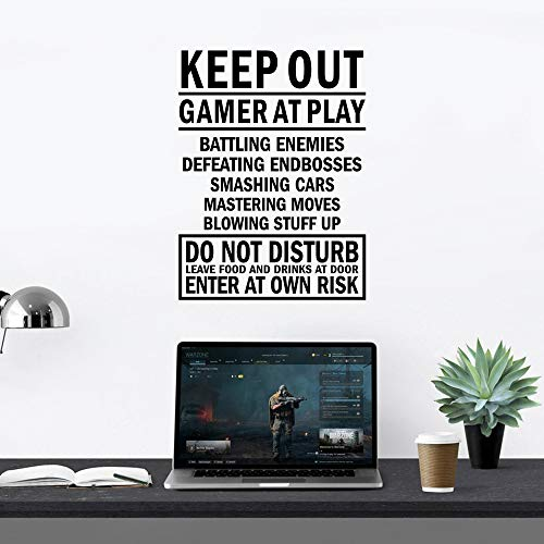 Keep Out Gamer at Play Enter at Own Risk Video Games Gamer Vinyl Wall Decals for Boys Playroom...