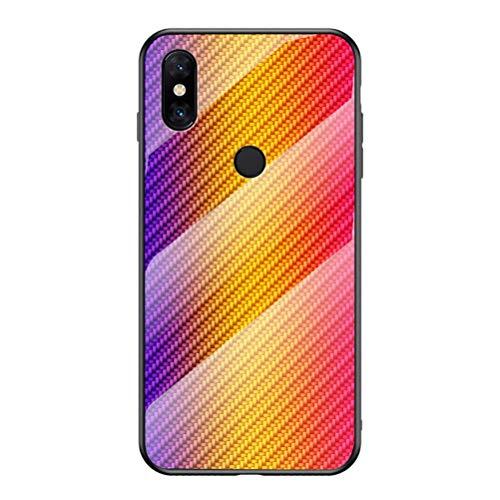 EUDTH Funda Xiaomi Mi Mix 3 Funda Protectora Vidrio Templado de Mezcla de Fibra de Carbono Cover Case Estuche Rígido Carcasa para Xiaomi Mi Mix 3 - Oro