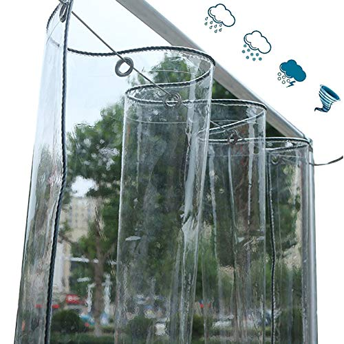 NIANXINN Lona Impermeable Transparente con Ojales,Película Plástico PVC 0,35mm para Exteriores Balcón Ventana Toldo Protección,Cubierta Prueba Lluvia para Invernadero Jardín Planta (1.8x4m/6x13ft)