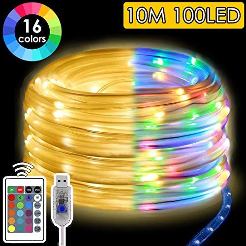 Mangueras LED Alimentado por USB, 10M 100 LEDs con remoto, IP65 a prueba de agua Luz de tubo de cuerda, 16 Colores RGB Luces de hadas Iluminación de Exterior para Fiesta de Navidad Jardín Decoración