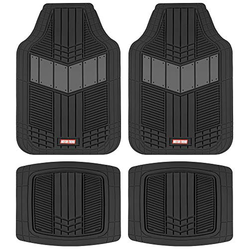 Motor Trend DualFlex Two-Tone Sport Design All-Weather Rubber Floor Mats for Car, Truck, Van & SUV -...