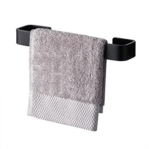 KES Toallero de Baño 25CM Cuadrado sin Taladro Toallero de Aluminio para baño Toallero a Prueba de Herrumbre Soporte para Pared Acabado en Negro, A4300S25DG-BK