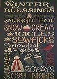 Primitive Winter Blessings Typography Metal Sign Ski Resort Ski Hut Roadside Vintage Sign 8X12 inch