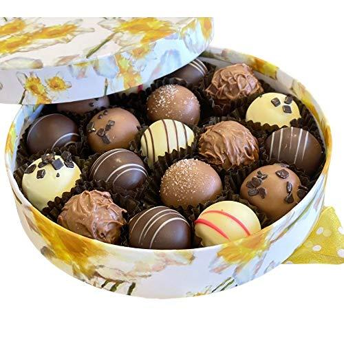 Belgijskie czekoladki Wielkanoc wiosna kwiatowe średnie pudełko z różnymi trufkami