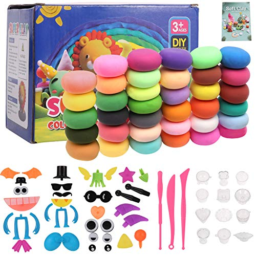 Aoliandatong Air Dry Clay, 36 Colours Air Drying Clay Modelling Clay, Soft & Ultra Light DIY Molding Clay with Tools, Arts and Crafts for Kids Age 3-12 year old( 36 colors)
