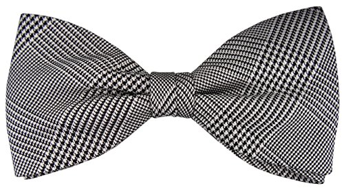 TigerTie - Pajarita de seda gris plata negro a cuadros - patrón Princ