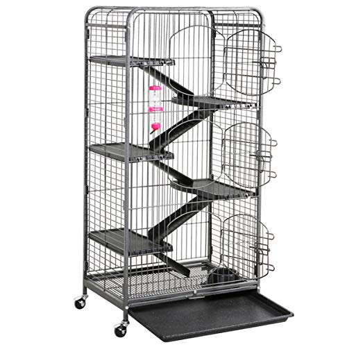 Topeakmart 6 Level 52'' Large Ferret Cage Chinchilla Squirrels Rabbit Small Animal Hutch Cage w/Wheel/3 Front Doors/Bowl/Water Bottle Indoor Outdoor Black