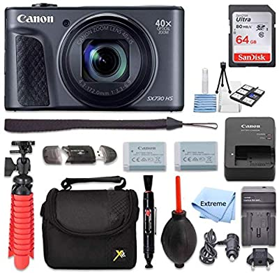 Canon PowerShot SX730 HS Digital Camera (Black) + 64GB Memory Card + Point & Shoot Case + Flexible Tripod + USB Card Reader + Lens Cleaning Pen + Cleaning Kit + Full Accessory Bundle from Extreme Elextronics