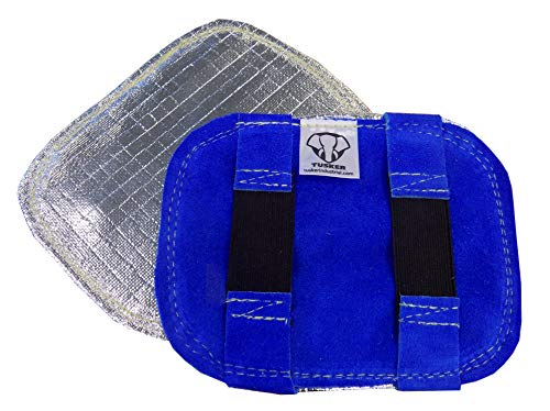 TUSKER INDUSTRIAL SAFETY Leather Hand Shields Pair, Premium Leather and Aluminised Heat Reflective Material, Fire Retardant