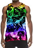 TUONROAD Mens Tank Top Sleeveless Shirt Cool Tacky Neon Hot Pink Smoke Athletic Fitting Muscular Physique Vest Ugly Hipster Big and Tall Tees Wife-Beater for Big Boys Dad Adventure Race