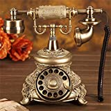 Resin Imitation Copper Retro Old Fashioned Rotary Dial Bronze Retro Antique Style Rotary Dial Resin Telephone PhoneDeskTelephone Home Office Telephone Set