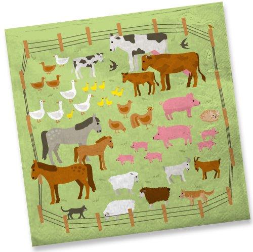 DH-Konzept 20 Servietten * Bauernhof * für Kindergeburtstag // Mottoparty Kinder Geburtstag Party Tiere Farm Kinderparty Farm Napkin Papierservietten