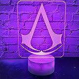 Assassin's Creed - Lámpara de ilusión 3D con luz nocturna LED para cócteles y sueños, 16 colores cambiantes, regalo para niños y aficionados al anime