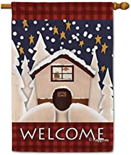KafePross Welcome Winter Holiday Snowy Cabin Decorative House Flag Happy Snow Night Home Decor Banner for Inside and Outside 28x40 Inch Double Sided