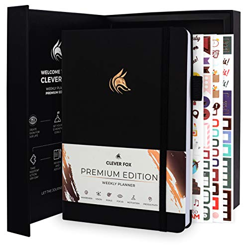 Clever Fox Planner Premium Edition - Luxurious Weekly & Monthly Planner to Increase Productivity and Hit Your Goals - Organizer - Undated, Start Anytime, A5, Lasts 1 Year, Black (Weekly)