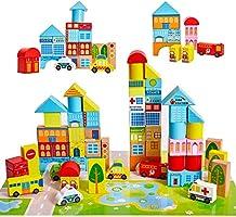 لعبة مكعبات البناء الخشبية - مجموعة مكعبات المدينة الخشبية - لعبة التركيب التعليمية للاطفال مرحلة ما قبل المدرسة، 62 قطعة.