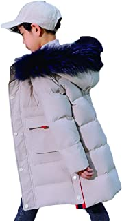 Korean Version of The Thick Casual Children's Down Jacket, 2019 New Boy in The Big Boy in The Long Section of The Large Fur Collar Coat,White,130