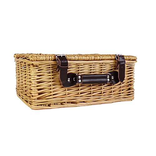 Traditional Wicker Basket (Small) with Fastner Straps - Perfect for making up hampers, arts & crafts and toy storage - Gift idea for Mum, Mothers Day, Christmas, Birthday, Hampers, Keepsakes, Memory Box