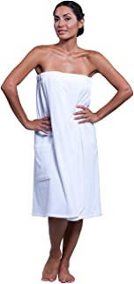 Boca Terry Womens Spa Wrap - 100% Cotton Spa, Shower, Bath and Gym Towel w Snaps - Med/Large, XXL, 4XL, 6XL