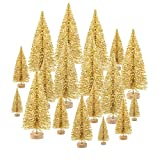 KUUQA 48 Pcs Mini Christmas Trees Bottle Brush Trees Tabletop Model Trees for Christmas Decoration DIY Room Decor Winter Decoration Diorama Models (Gold)