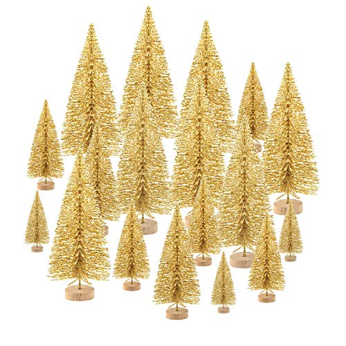 KUUQA 48 Pcs Mini Christmas Trees Bottle Brush Trees Tabletop Model Trees for Christmas Decoration DIY Room Decor Winter Decoration Diorama Models Gold