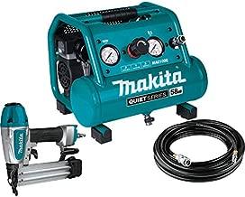 Makita MAC100QK1 Quiet Series 1/2 HP, 1 Gallon Compact, Oil-Free, Electric Air Compressor, and 18 Gauge Brad Nailer Combo Kit