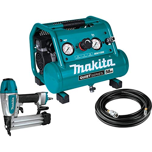 Makita MAC100QK1 Quiet Series 1/2 HP, 1 Gallon Compact, Oil-Free, Electric Air Compressor, and 18 Gauge Brad Nailer Combo Kit