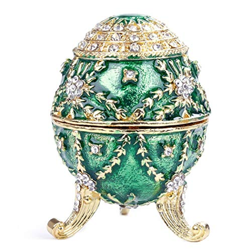 HAOCHIDIAN Schmuck Organizer tragbare handbemalte emaillierte Faberge Ei gemeißelt Abbildung Vintage-Stil dekorative klappbare Metallic-Schmuck-Schmuck-Box