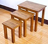 Rongyuan OAK Rustic Solid Nest of 3 Tables Coffee Table Small Wooden Side/End/Lamp/Nesting Tables for Living Room