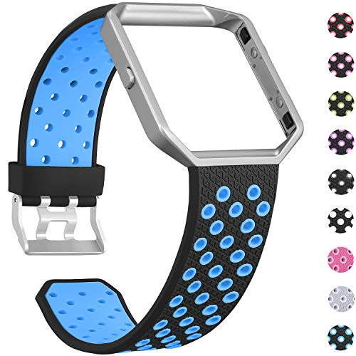 SKYLET Compatible with Fitbit Blaze Bands with Frame, Soft Silicone Breathable Replacement Sport Wristbands Compatible with Fitbit Blaze Smart Watch Men Women Black