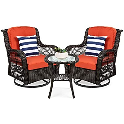 Best Choice Products 3-Piece Outdoor Wicker Patio Bistro Set w/ 2 360-Degree Swivel Rocking Chairs and Tempered Glass Top Side Table, Rust