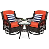 Best Choice Products 3-Piece Outdoor Wicker Patio Bistro Set w/ 2 360-Degree Swivel Rocking Chairs and Tempered Glass Top Side Table - Rust