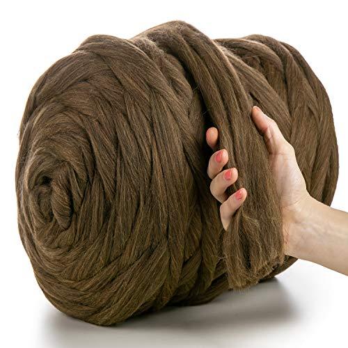 MeriWoolArt - Lana de merino 100 % para punto y ganchillo con hilo de 4-5 cm de grosor, lana de merino gruesa para bufanda, manta y cojín XXL, Marrón – Amarillo., 500 g