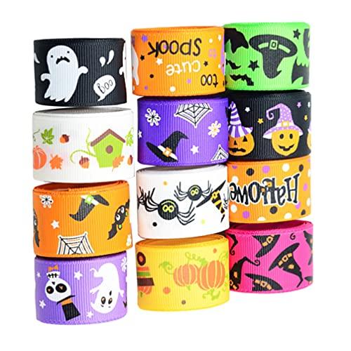 Holibanna 12 piezas de decoración de cinta de Halloween, kit de decoraciones de cinta para el pelo, regalo para envolver proyectos de arte