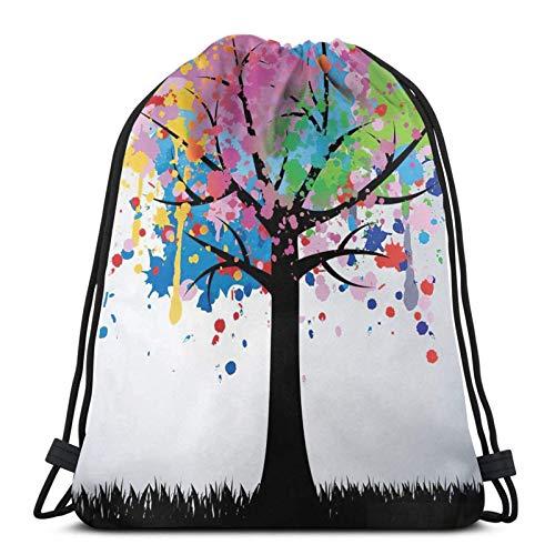 Lmtt Pintura colorida del árbol del bolso del viaje de la mochila del gimnasio de los deportes de la mochila del lazo