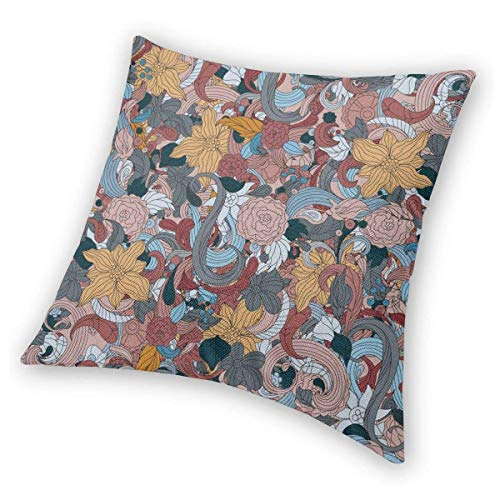 DRXX Square Throw Pillow Covers Sun Floral Pillowcase Couch Christmas Decorative Cushion Covers 45X45 cm