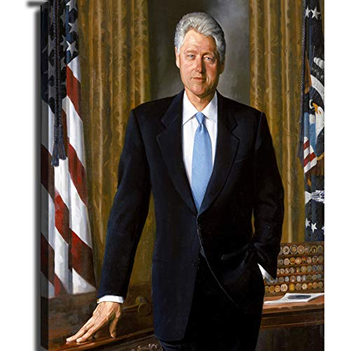 Bill_Clinton_-_Presidential_portrait Smile Art Design 42nd President of The United States of America William Bill Clinton Portrait Canvas Wall Art Print America History Political Icon Office Library Living Room Home Decor (20*30 inch,no fram)