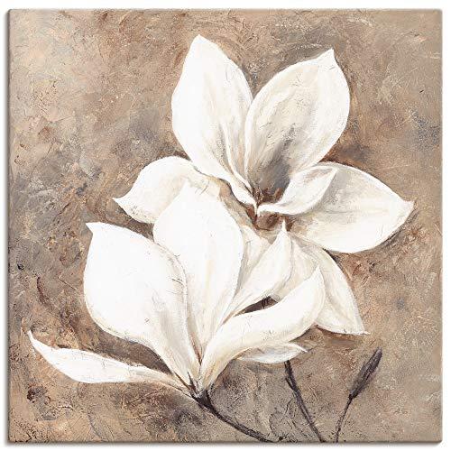 Artland Leinwandbild Wandbild Bild auf Leinwand 50x50 cm Wanddeko Magnolie Blumen Blüten Botanik Shabby Chic Landhausstil T4IQ