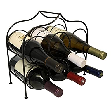 Clarabel 6 Bottle Metal Wine Rack for Tabletop or Countertop by KitchenEdge, Free Standing, Black, Wrought Iron